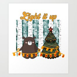 Light it up tiny bear Christmas in the forest Art Print