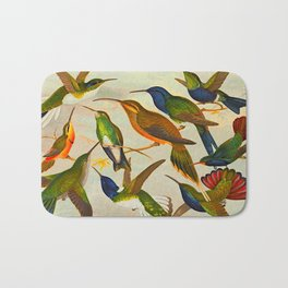 Translate Album de aves amazonicas - Emil August Göldi - 1900 Colorful Hummingbirds Bath Mat