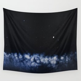 Contrail moon on a night sky Wall Tapestry