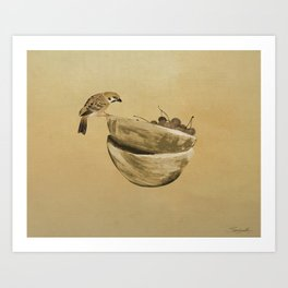 Sparrow And Bowl of Cherries Art Print