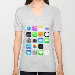 Phone Apps (Flat design) Unisex V-Neck
