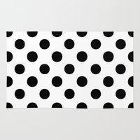 polka dots Area & Throw Rugs featuring Polka Dots (Black/White) by 10813 Apparel