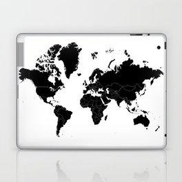 Minimalist World Map Black on White Background Laptop & iPad Skin