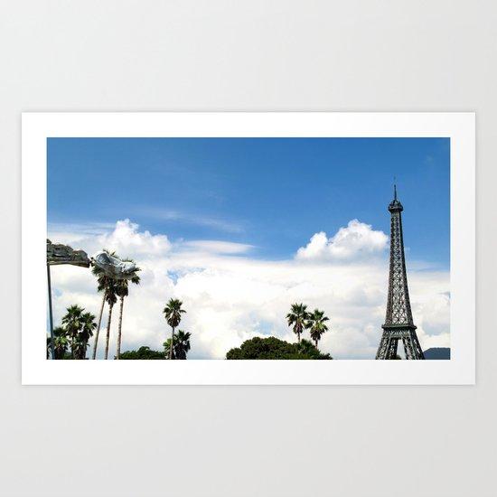Age of Dinosaurs vs. La Tour Eiffel Art Print