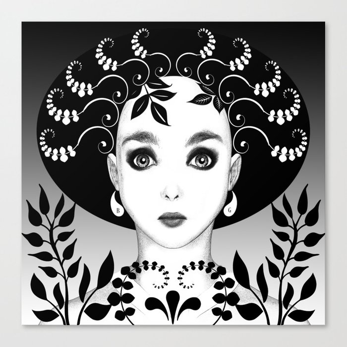 Black and white floral portrait Canvas Print