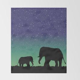 Elephant Silhouettes  Throw Blanket