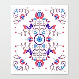 RED & BLUE  Hungarian folk art Canvas Print