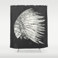 indian Shower Curtains featuring Indian Skull by Mike Koubou