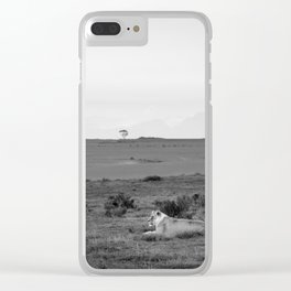 Lone lioness rests on African savanna Clear iPhone Case