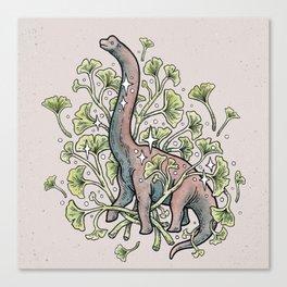 Brachio Ginkgo | Dinosaur Botanical Art Canvas Print