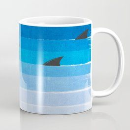 Sharks - shark week trendy black and white minimal kids pattern print ombre blue ocean surfing  Coffee Mug