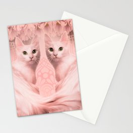 """""""Pink Pastel Doppelganger Cats at the Garden"""" Stationery Cards"""