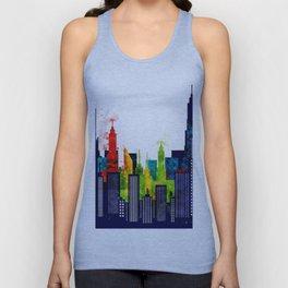 American City Buildings And Skyscrapers in Watercolor Unisex Tank Top