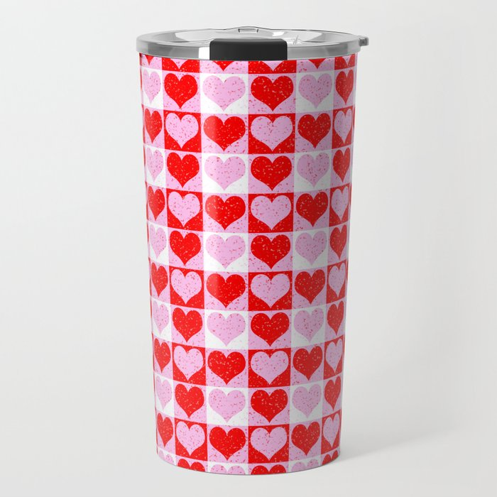 Love Heart Red Pink and White Check Pattern Travel Mug