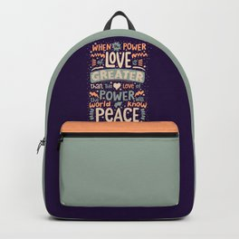 Peace Love Power Typography Quote Backpack