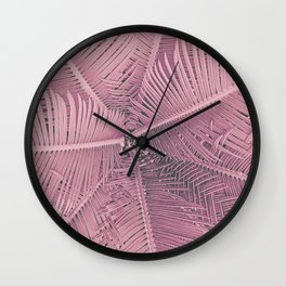 Pink Palm Leaves Urban Jungle Wall Clock