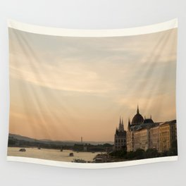Sun sets over Budapest Wall Tapestry