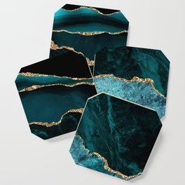Teal Blue Emerald Marble Landscapes Coaster