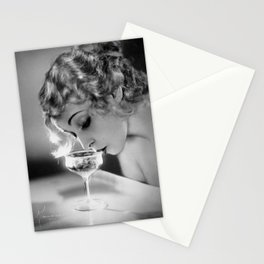 Jazz Age Blond Sipping Champagne black and white photograph / photography Stationery Cards