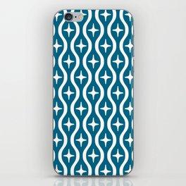 Mid century Modern Bulbous Star Pattern Peacock Blue iPhone Skin