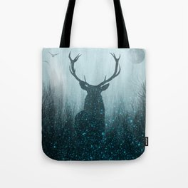 Snow Stag Silhouette Tote Bag