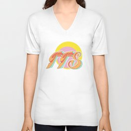 For F*ck's Sake, FFS, 70's retro Unisex V-Neck
