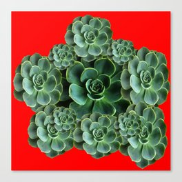 CHINESE  RED ART JADE GREEN SUCCULENTS Canvas Print