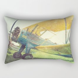 Preflight Biplane // Antique Airplanes Rectangular Pillow