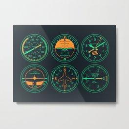 Aircraft Flight Instruments - 6 Pack Night Metal Print