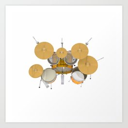Yellow Drum Kit Art Print
