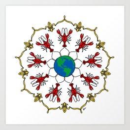 Crawfish Mandala Art Print
