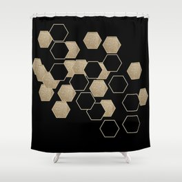 contemporary preppy scandinavian minimalist Black and gold hexagon Shower Curtain