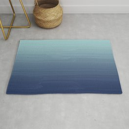 Light blue to navy painted gradient ombre Rug