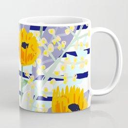 Bright Flowers with Navy Stripe Coffee Mug