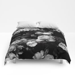 Roses are black and white Comforters