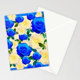 DECORATIVE WHITE & BLUE ROSES GARDEN ART DESIGN Stationery Cards