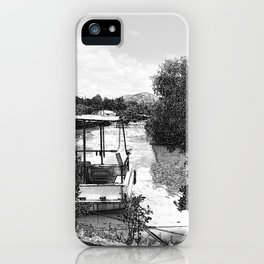 Boats and river in black and white iPhone Case