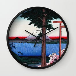Mount Fuji across Yedo Bay Wall Clock