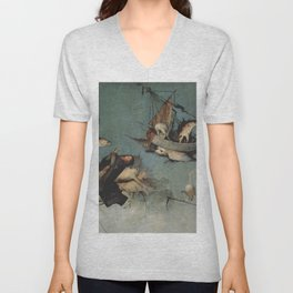 Hieronymus Bosch flying ships and creatures Unisex V-Neck