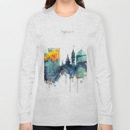 Watercolor Oakland skyline cityscape Long Sleeve T-shirt