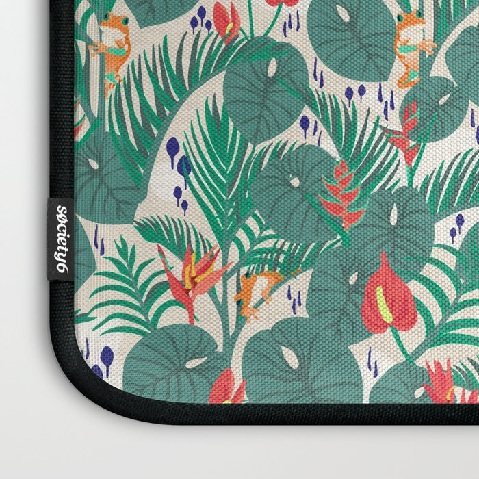 Tropical Frogs in the Jungle - Cream Laptop Sleeve