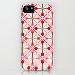 Crosses & Dots (red + pink) iPhone Case