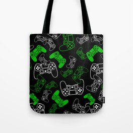 Video Games Green on Black Tote Bag