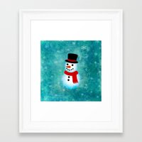 snowman Framed Art Prints featuring snowman by vitamin