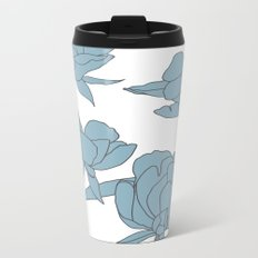 Roses in Blue Metal Travel Mug
