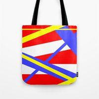 bands Tote Bags featuring Bands 2 retro stripes by Brian Raggatt
