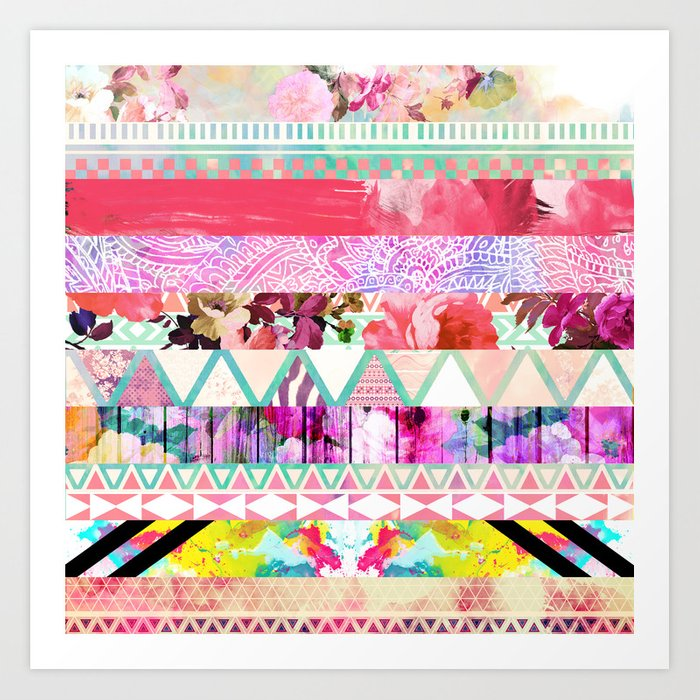 Pastel Abstract Floral Aztec Stripes Girly Pattern Art Print