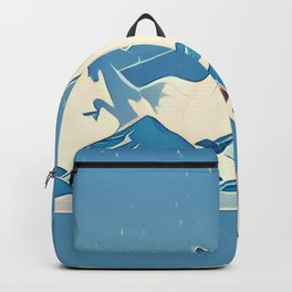 Wolf and the blue mountain Backpack