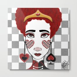 Beware rose painting cards, here comes the Queen of Hearts! Metal Print