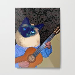 My Cat Plays Guitar Metal Print